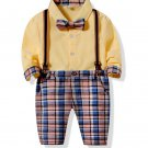 Long Sleeve Shirt With Plaid Suspender For Boys
