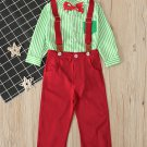 Boys Long Sleep Striped Overalls Two Piece Sets