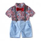 Fashionable Floral Shirt Short Overall Boys Sets