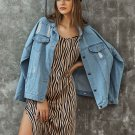 Single-Breasted Hole Denim Jackets For Women