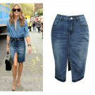Casual Denim Split Smart Waist Skirt