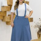 Plus Size Suspender Denim Skirt