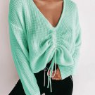 Cropped Top Knitting V Neck Long Sleeve Sweater