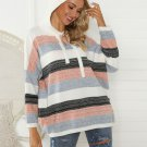 Multicolored Striped Hooded Collar Loose Knit Sweater