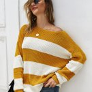 Loose Off Shoulder Striped Knitting Sweater