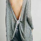 Backless Rope Twisting Pullover Sweater