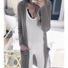 Casual Pockets Solid Ladies Cardigans For Women