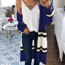 Contrast Color Striped Loose Knitted Cardigan For Women