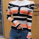 Cold Shoulder Stitching Color Striped Fitted Knit Sweater