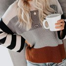 Loose Contrast Color Long Sleeve Pullover Sweater