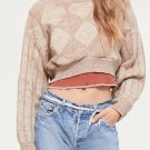 Crew Neck Rhombus Design Knitted Cropped Sweater