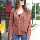 Minimalist Solid Color Zipper Up Hooded Knit Cardigan