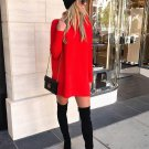 Winter  Solid Long Sleeve Sweater Dress