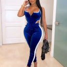 Contrast Color Sleeveless Bodysuit With Long Pants