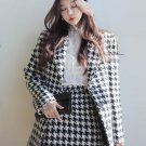 Winter Houndstooth Women Tweed Two Piece Skirt Set