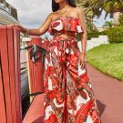 Strapless Ruffle Printed Women Two Piece Sets