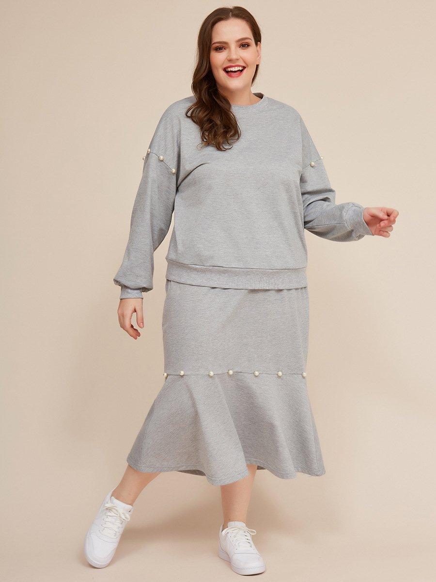 Plus Size Pearls Decor Gray Two Piece Fishtail Skirt Set