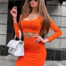 Simple Solid Long Sleeve Cropped Two Piece Sets