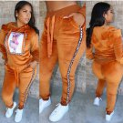 Hooded Long Sleeve Patchwork 2 Piece Outfits