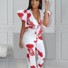 Sexy Low Cut Printed Jumpsuit