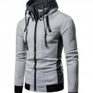 Casual Contrast Color Men Zip Up Hoodies