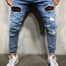Stylish Holes Embroidery Ripped Jeans For Men