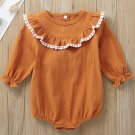 Casual Lacework Solid Infant Romper