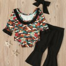 Camouflage Long Sleeve Rompers With Pants Baby Set