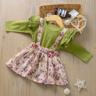 Stylish Floral Suspender Skirt 2 Piece Outfit Sets