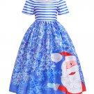 Christmas Pattern Off Shoulder Flower Girl Gown