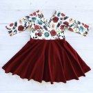 Stylish Patchwork Floral Long Sleeve Toddler Dresses