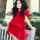 Pleuche Shoulder Cut Princess Kids Dress