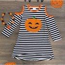 Halloween Pumpkin Pattern Toddler Casual Dresses