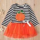 Halloween's Pumpkin Printed Striped Girls Dresses