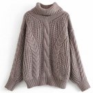 Bat Sleeve Solid Turtleneck  CableKnit Sweater