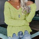 Chic Irregular Hem Solid V Neck Sweater