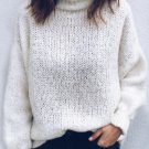 Solid Long Sleeve Casual Turtleneck Sweater