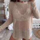 Solid Hollow Out Knit Crew Neck Sweater