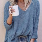 Casual Solid Loose Knit V Neck Sweater