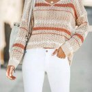 Stitching Color Hollow Out Loose Pullover Sweater