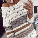 Contrast Color Hollow Out Loose Crew Neck Sweater