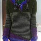Casual Knit Contrast Color Striped Sweater