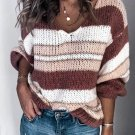 Leisure V Neck Contrast Color Striped Sweater