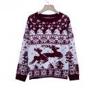 Casual Deer Print Crew Neck Sweater