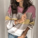 Leisure Contrast Color Knit Striped Sweater