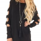 Hollow Out Sleeves High Low Hem Crew Neck Sweater