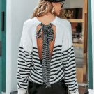 Back Tie Backless Striped Sweater