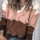 Loose Hollow Out Contrast Color V Neck Sweater