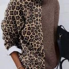 Contrast Color Leopard Print Pullover Sweater