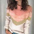 Contrast Color Loose Long Sleeve Crew Neck Sweater